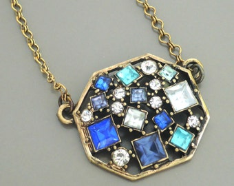 Art Deco Necklace - Pendant Necklace - Aquamarine Sapphire Blue Necklace - Rhinestone Necklace - Antique Gold Necklace - handmade jewelry