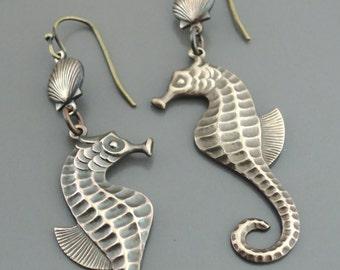 Vintage Earrings - Seahorse Earrings - Beachy Earrings - Vintage Brass Earrings - Chloes Vintage Jewelry - handmade jewelry