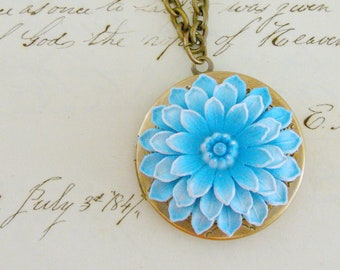 Vintage Locket - Locket Necklace - Blue Necklace - Dahlia Flower Jewelry - Vintage Brass  Necklace - Chloes Vintage - Handmade Jewelry