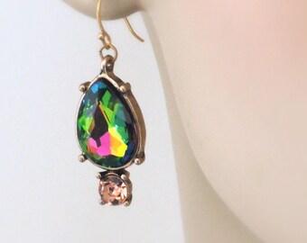 Vintage Inspired Earrings - Rhinestone Earrings - Colorful Earrings - Antiqued Gold Earrings - Rainbow Earrings - Pink Earrings - Boho