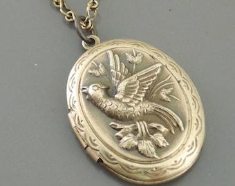 Locket Necklace - Vintage Locket -  Brass Locket - Victorian Locket - Bird Necklace - handmade jewelry
