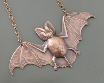 Copper Necklace - Bat Necklace - Bat Jewelry - Statement Necklace - Large Pendant Necklace - Handmade Jewelry