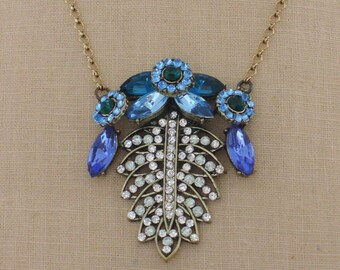 Vintage Inspired Necklace - Sapphire Blue Necklace - Rhinestone Necklace - Boho Necklace - Leaf Necklace - handmade jewelry