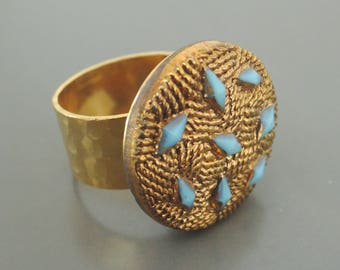 Vintage Jewelry - Vintage Ring - Gold Ring - Blue Ring - Adjustable Ring -  Statement Ring - One of a Kind Ring - handmade jewelry