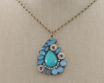 Vintage Inspired Necklace -Paisley Necklace- Blue Necklace - Crystal Necklace - Vintage Brass Necklace - Boho Necklace - Pendant Necklace