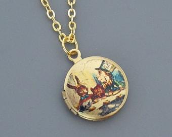 Vintage Jewelry - Tiny Locket Necklace - Alice in Wonderland Locket Necklace - Mad Hatter Locket - Door Mouse - Art Locket - Gold Locket