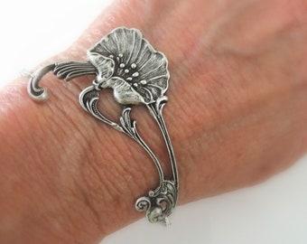 844f172c60b31 Vintage Jewelry - Silver Bracelet - Art Nouveau Bracelet - Poppy Jewelry -  Flower Bracelet - Chloe's Vintage Jewelry - handmade jewelry