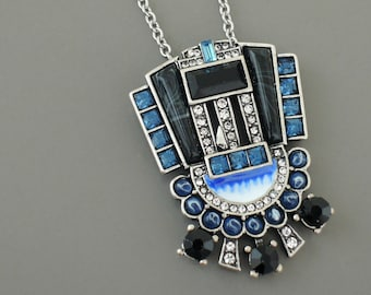 Art Deco Necklace - Vintage inspired Necklace - Sapphire Blue Necklace - Crystal Necklace - Silver Necklace - handmade jewelry