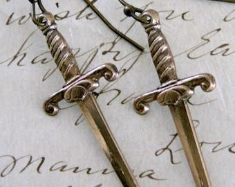 Vintage Earrings - Dagger Earrings -  Brass Earrings - Knife Earrings - handmade jewelry