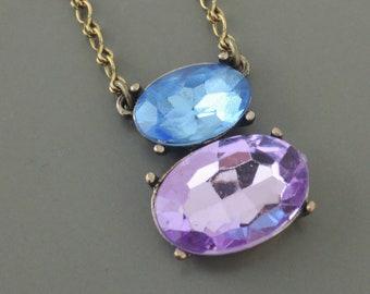 Vintage Necklace - Rhinestone Necklace - Colorful Necklace - Purple Necklace - Blue Necklace - Brass Necklace - handmade jewelry