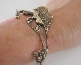 Vintage Jewelry - Vintage Bracelet - Art Nouveau Bracelet -  Poppy Jewelry - Flower Bracelet - Vintage Brass jewelry - handmade jewelry