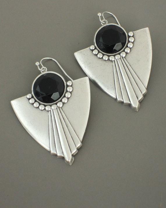 61872311c Art Deco Earrings Silver Earrings Black Earrings | Etsy