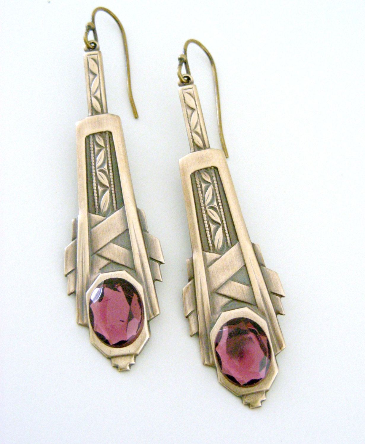 Vintage Earrings Art Deco Earrings Vintage Brass Jewelry