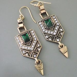 Art-Deco Earrings with Optional Necklace