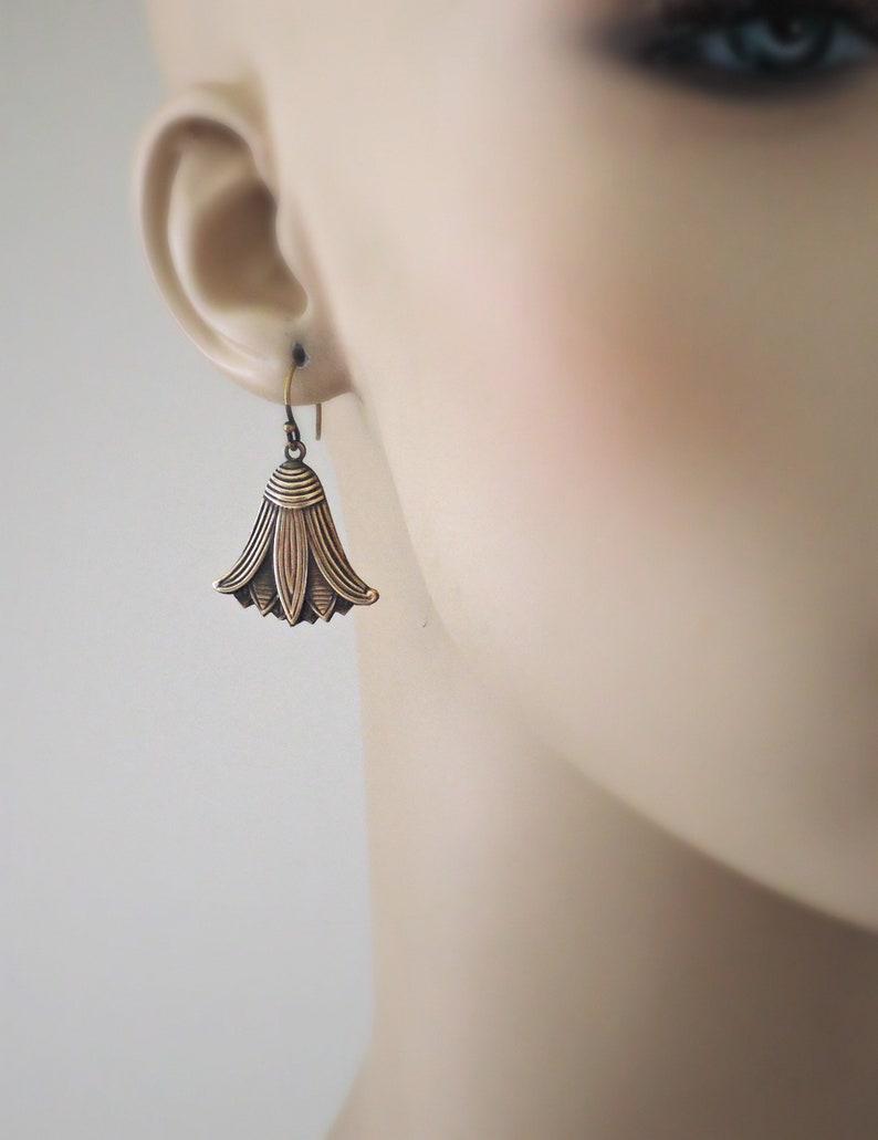 Handmade Jewelry Art Deco Egyptian Earrings Cute Earrings Lotus Flower Earrings Vintage Jewelry Brass Earrings Vintage Earrings