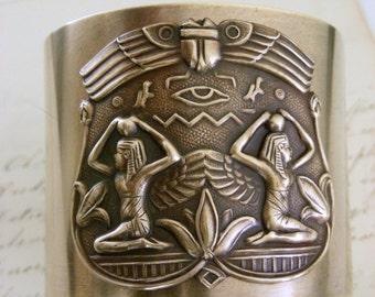 Vintage Bracelet -Cuff Bracelet - Egyptian Bracelet - Statement Bracelet  - Cleopatra Bracelet - Brass Jewelry - Handmade Jewelry