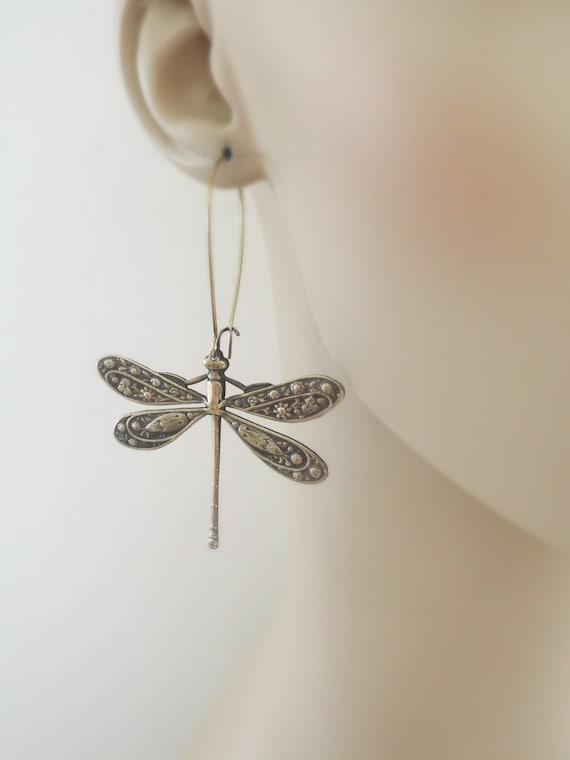 Vintage Handmade Silver Dragonfly Earrings