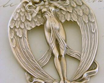 Vintage Brooch - Art Nouveau Jewelry - Angel Pin - Vintage Brass jewelry - Angel Jewelry - handmade jewelry