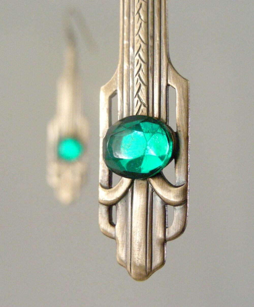 Art Deco Earrings - Vintage Earrings - Green Earrings - Brass Earrings - Emerald Green Earrings - May Birthstone - handmade