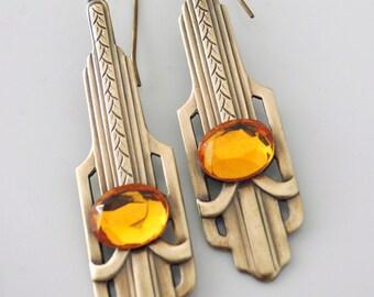 Art Deco Earrings - Topaz Earrings - Vintage Brass jewelry - November Birthstone - handmade jewelry