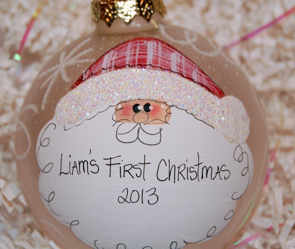 santa christmas ornament hand painted glass 4 round frosted ball