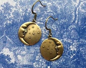 Moon Earrings - Moon Jewelry - Moon Face Earrings - Celestial Jewelry - Moon and Star Earrings - Man in the Moon - Celestial Drop Earrings