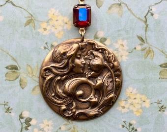 Art Nouveau Necklace - Art Nouveau Jewelry - Goddess Jewelry - Goddess Necklace - Bohemian Necklace - Brass Pendant - Boho Gypsy Jewelry