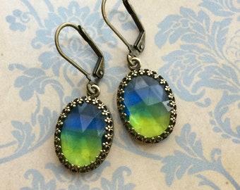 Glass Earrings - Drop Earrings - Ombré Jewelry - Vintage Glass Earrings - Vintage Style Jewelry - Blue and Green Jewelry - Ombré Earrings