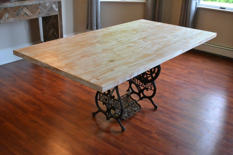 2903485d1c1e6 Kitchen Table With Antique Sewing Machine Base Reclaimed Wood