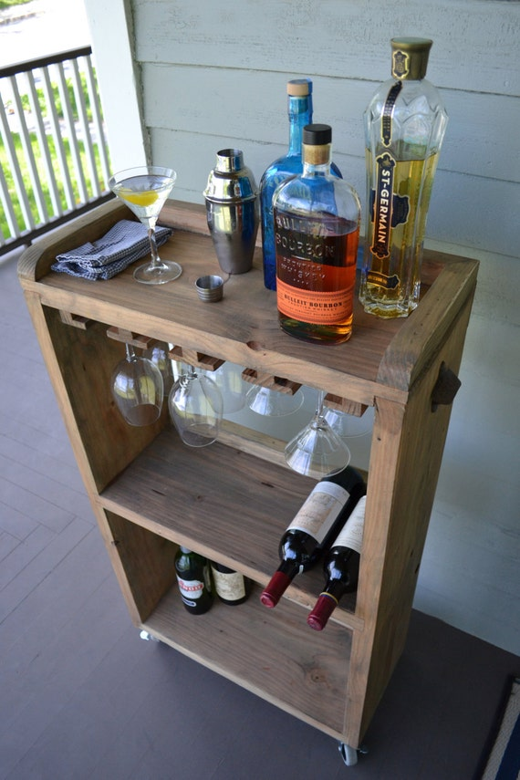 Rolling Bar Cart Wine Rack Kitchen Bar Reclaimed Wood Bar Etsy