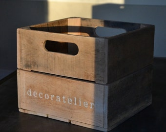 Wood Crate, Reclaimed Solid Oak Box, Wood Crate, Reclaimed Wood Box Pallet Wood- Free Shipping