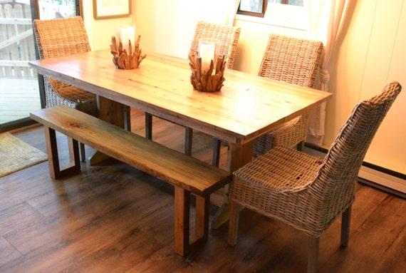 Reciclado de tabla de madera de la granja mesa de comedor | Etsy