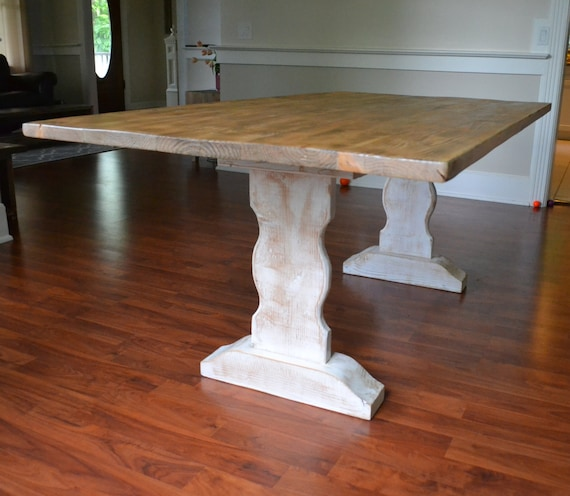 Farm Table Reclaimed Wood Dining Table Whitewash Dining Etsy