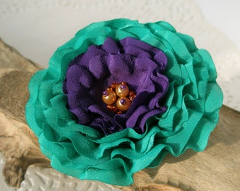 Emerald Green and Purple Flower Hair Clip  | Gentle Floral Hair Pin | Fabric Flower Hair Accessory | Fabric Flower Brooch