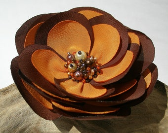 Chocolate Brown And Orange Flower Hair Clip  | Gentle Floral Hair Pin | Fabric Flower Hair Accessory | Fabric Flower Brooch
