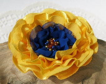 Yellow and Cobalt Blue Flower Hair Clip  | Gentle Floral Hair Pin | Fabric Flower Hair Accessory | Fabric Flower Brooch