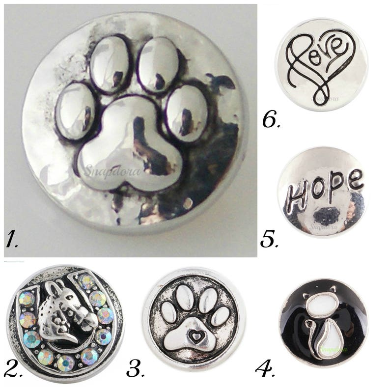 #Snap.Chunk Button 20mm Black Silver Horse Head For Ginger Snap Style Jewelry