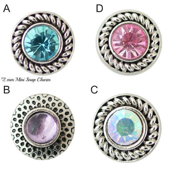 }12MM Mini Snap Chunk Button Clear Set Charm For Ginger Snap Style Jewelry
