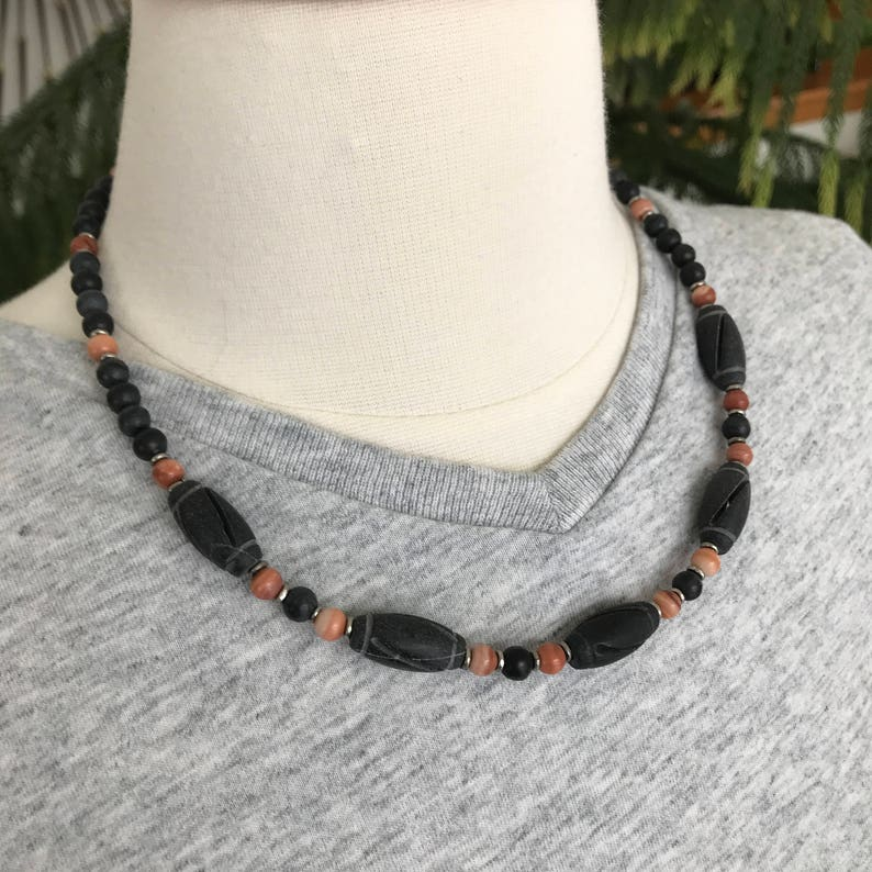 Carved Black Stone Fathers Day Mens Black /& Brick Rustic 19 Stone Necklace Masculine Red Malachite Man Necklace Guy Gift Man Gift