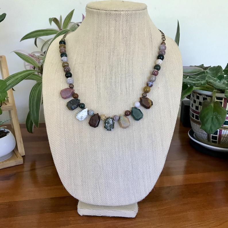 Woman Gift Fall Colors Fancy Jasper Teardrop Adjustable Necklace Ocean Jasper Chunky Necklace 18.5-23.5 Earth Tones Handmade Earthy