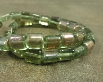 25x10mm 6 Beads Czech Glass Mother Goddess Beads People Fertility Beads Tourmaline Green Transparent Matte with Dark Bronze Wash