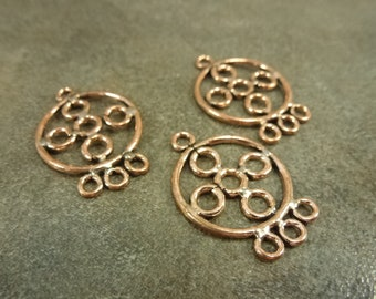 Copper chandelier etsy genuine copper circles 3 hole round chandelier finding 27x19mm 6pcs bali style pendant charms drop aloadofball Gallery