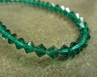 Emerald Swarovski Crystal 5301 Bicone 4mm 20pc