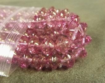 Rose Luster Czech Glass Saucer 9x7mm 8pc