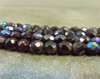 Garnet AB Czech Glass Firepolish Beads 8mm Faceted Glass 16pc Blue