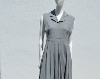 689f49db2b86b Vintage 40's rayon sleeveless dress WWII uniform pleated full swing skirt  size M by thekaliman