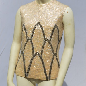 Vintage 60/'s DOREEN hand beaded all sequin short bolero sweater pearl buttons rockabilly size M