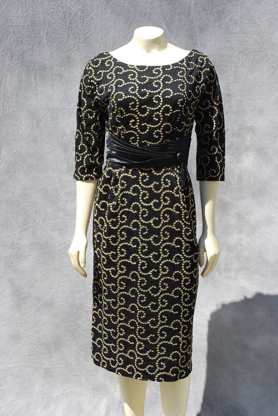 Vintage 50's hand embroidered dress stars swirl pa