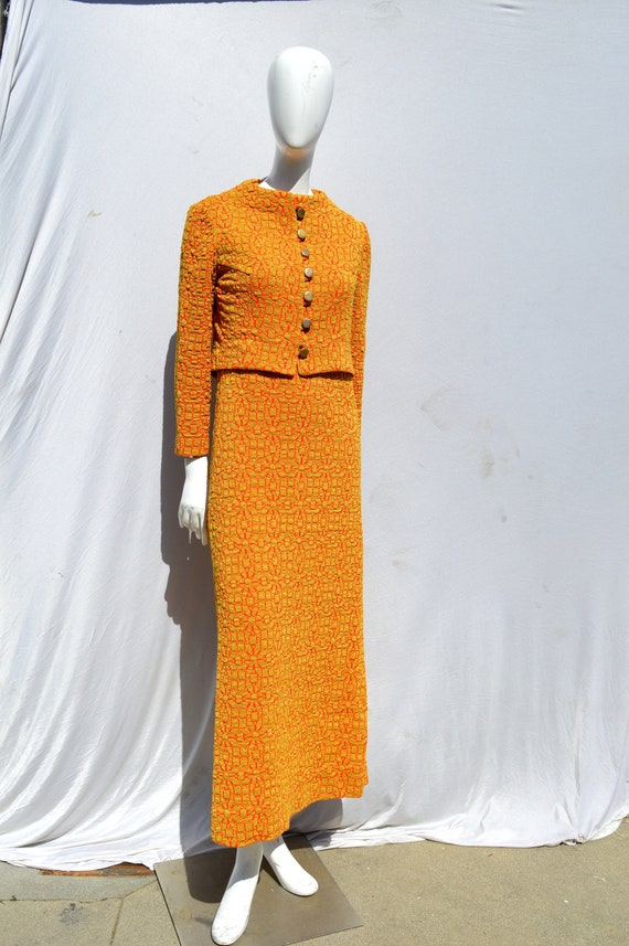 Vintage 60's ARNOLD SCAASI gold and red knit eveni