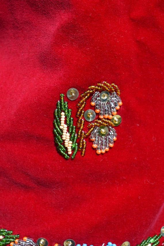 Vintage 70's HAND EMBROIDERED red velvet vest siz… - image 8